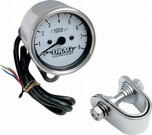 Drag Specialties 8000 Rpm Chrome Electronic Tachometer 2 4