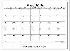 Kalendrar mars 2019 SL Michel Zbinden sv