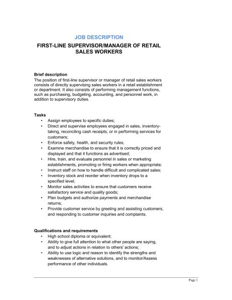 Retail Manager Responsibilities For Resume by Retail Descriptions 2016 Recentresumes