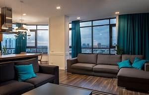 Rideau Bleu Turquoise : skyline apartment by svoya studio on behance ~ Teatrodelosmanantiales.com Idées de Décoration