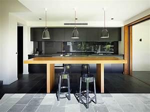Cuisine Moderne Design : cuisine noir et bois un agencement harmonieux ~ Preciouscoupons.com Idées de Décoration