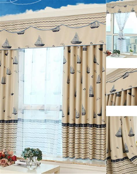 blackout thick polyester beige blue nautical curtains