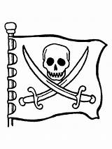 Flag Pirate Coloring Pirates Pages Face Jolly Roger Skull Zone sketch template