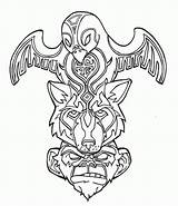 Totem Coloring Pages Poles Popular sketch template