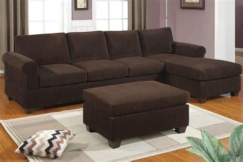 corduroy chocolate sofa sectional reversible set ottoman