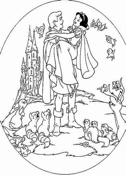 Snow Coloring Pages Prince Princess Disney Printable
