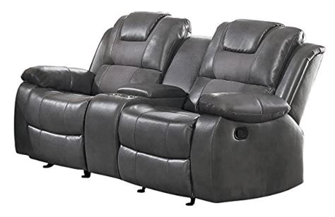 reclining loveseat with console cup holders homelegance taye glider recliner