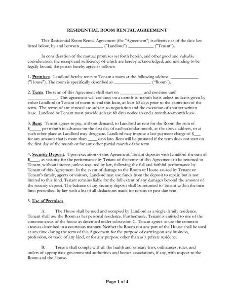 agreement form sle room rental agreements printable sle 28 images 6 sle
