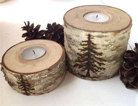wood tea light candle holders set   wood burned spruce