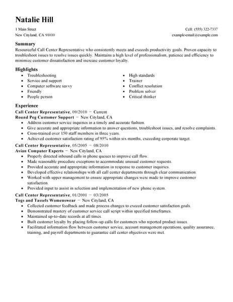 Resume Format For Call Center by Resume Exles Call Center Center Exles Resume