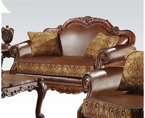 leather and fabric loveseat dresden formal brown leather gold fabric sofa loveseat