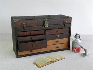 Antique Wooden Tool Chest Machinist Tool Box Beautifully