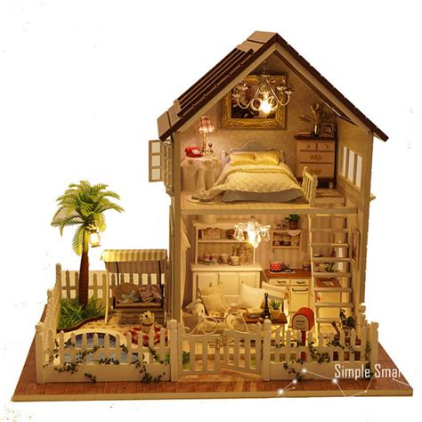 fresh miniature home models miniature dollhouse diy kit apartment with led light