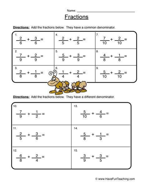 fraction worksheets teaching