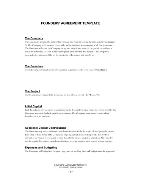 founders agreement template startup founders agreement template