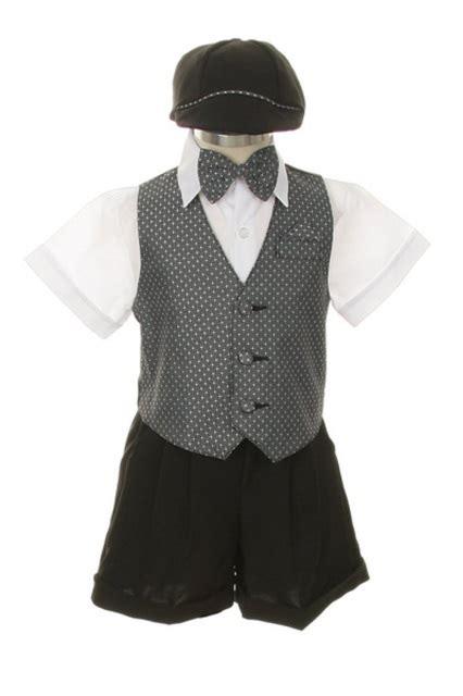 Dress Shorts Suit Tuxedo Vest Outfit Set-Infant Baby Boys u0026 ToddlerGray-Silver