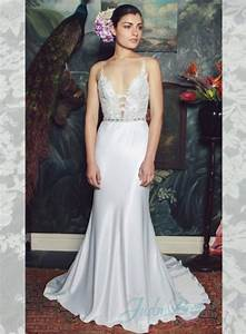sexy plunging deep v neck low back sheath wedding dress With plunging v neck wedding dress