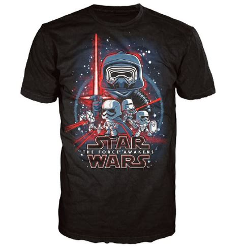 Star Wars The Force Awakens Poster Pop! T-Shirt - Black ...