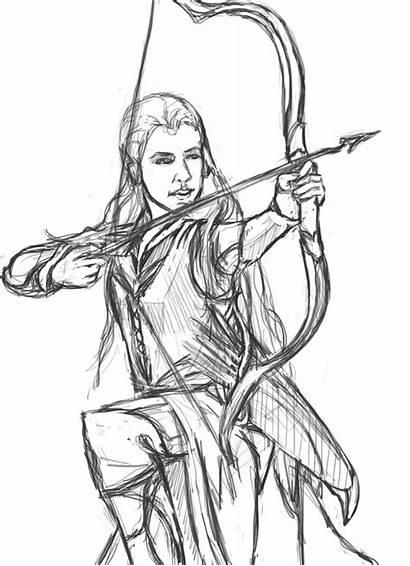 Coloring Hobbit Tauriel Pages Sketch Printable Deviantart