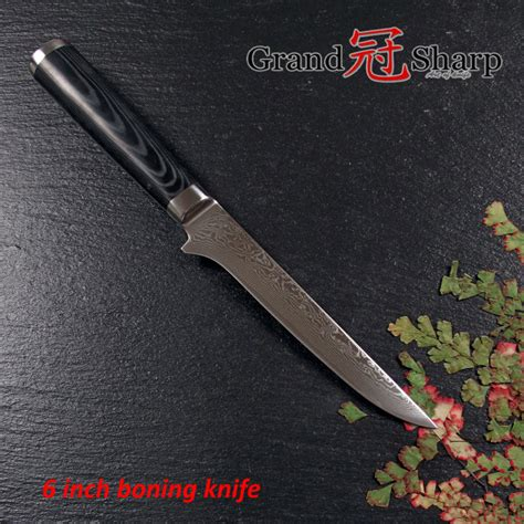 free shpping 4 layers stainless grandsharp 6 inch boning knife 67 layers japanese damascus