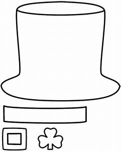 Leprechaun hat paper craft black and white template for Leprechaun hat template printable