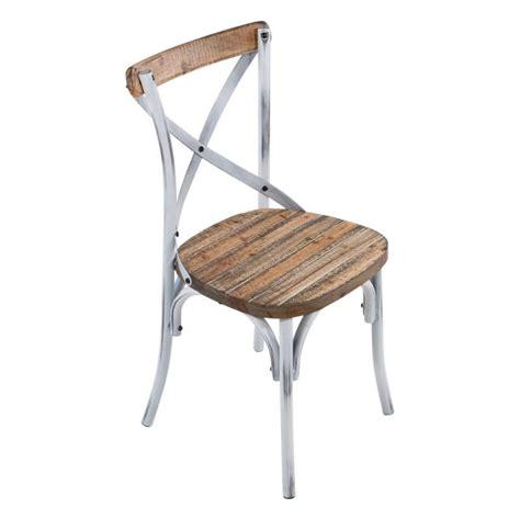 chaise bois et metal chaise bistrot vintage en bois et métal patiné madie 4
