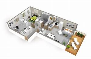 plan de maison 3d onetosix With plan maison avec appartement