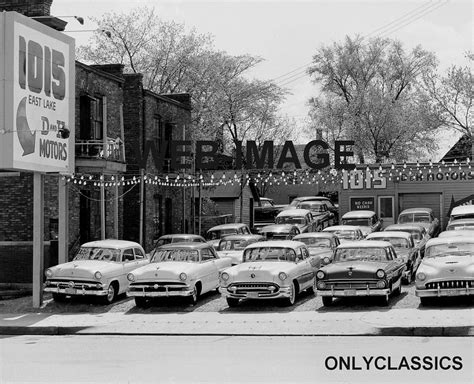 50's Used Car Auto Dealer Old Car Lot Automobilia Photo