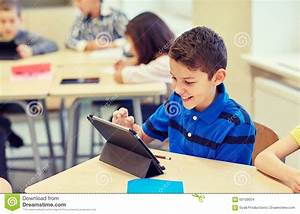 School Kids With Tablet Pc In Classroom Stock Photo ...