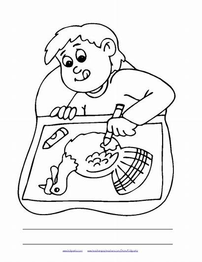 Thanksgiving Dinner Coloring Plate Oral Pages Drawing