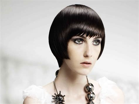 Smooth Short Haircut With A Blunt Fringe