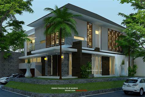 desain rumah pojok semy basementmodern tropis  lantai