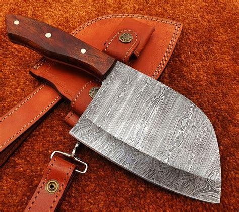 almazan serbian chef knife cleaver  damascus steel