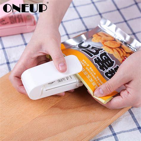 oneup plastic bag sealer portable mini electric heat sealing machine plastic bag clips impulse