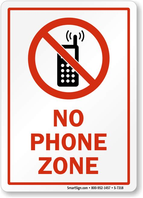 No Phone Zone With Graphic Sign No Cell Phone Sign