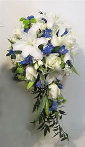 blue and white cascade wedding flower bridal party bouquet