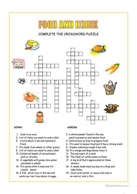 food  drink crossword worksheet  esl printable