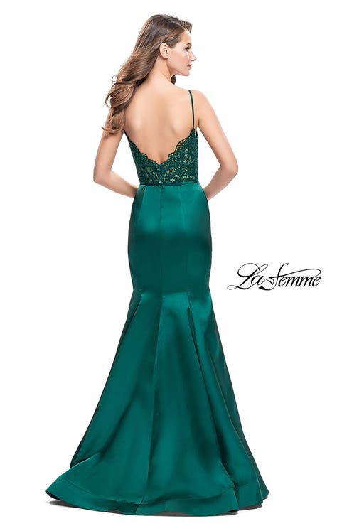 La Femme 25751  Lace Bodice Fitted Mermaid Open Back
