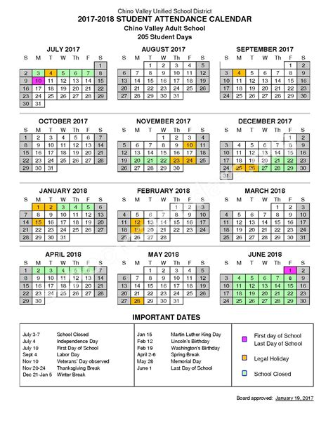 chino valley unified school district calendars chino ca