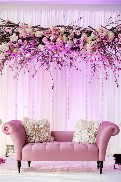 beautiful couple stage   cherry blossom theme bijal