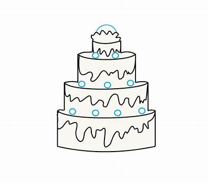 Cake Draw Drawing Step Easy Layer