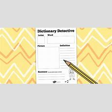 Dictionary Detective Worksheet  Dictionary, Literacy, English