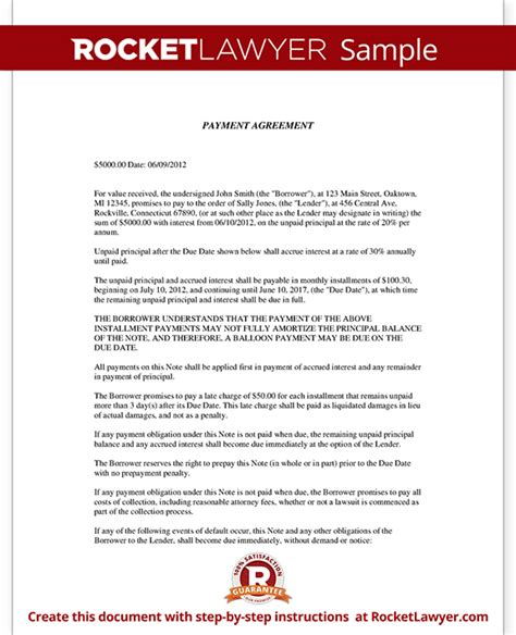 payment contract template installment agreement payment agreement contract letter template