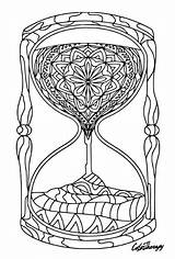 Hourglass Colouring Coloring Therapy Iphone Zentangle Adult Colortherapy sketch template