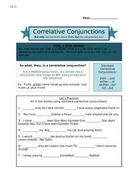 this worksheet explains correlative conjunctions with practice fill in the blank questions