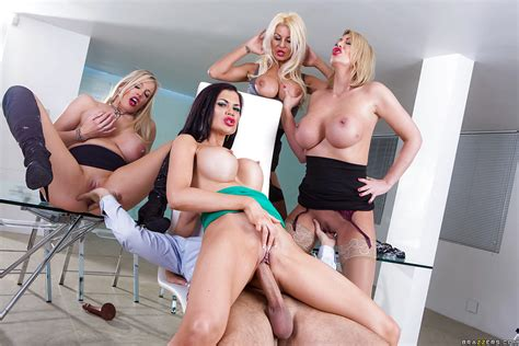 Buxom Office Chicks Reverse Gangbang Co Worker With The