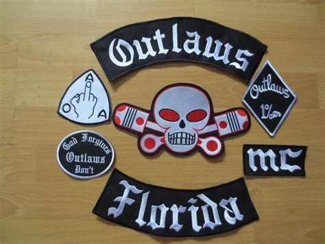 2017 Embroidery Outlaws Florida Patches For Jacket Back