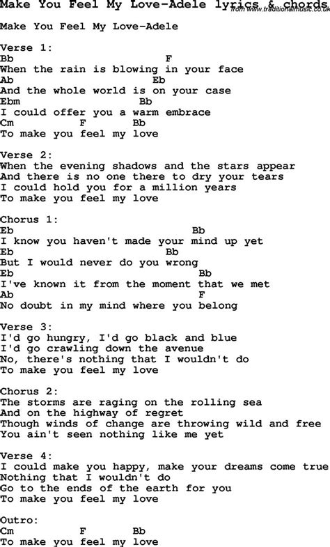 Love Song Lyrics Formake You Feel My Loveadele With Chords  My Jam  Pinterest Adele