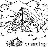 Camping Coloring Tent Pages Printable Sheets Sheet Campfire Tourist Template sketch template