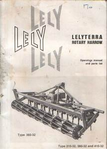 Lely Lelyterra Rotary Harrow Operators Manual With Parts List